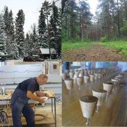 オーク天然木 リビングテーブル 棚付きコンソールテーブル [WOODMAN・ウッドマン] 旧ソ連の西端。フィンランドなど北欧の文化も色濃いエストニア。夏は輝く緑、冬は真っ白な雪化粧となる美しい森の中に、「WOODMAN」の工場はあります。