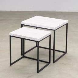 Marbrim/マーブリム 大理石調テーブルシリーズ ネストサイドテーブル 必要な時は広々使える入れ子式。