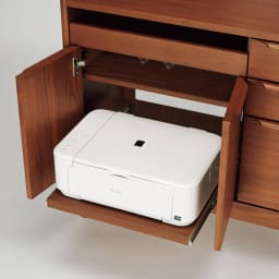 Jalka/ヤルカ ウォルナットシリーズ パソコン収納 幅87.5cm 扉内のスライドテーブルはサッと使えるプリンター台に。