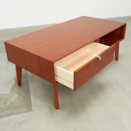 北欧ヴィンテージ風Vカットデザイン リビングテーブル・センターテーブル 幅105cm リビングの小物をまとめて収納。