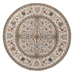 イタリア製ジャカード織ラグ〈イスタ〉円形 径約175cm (ア)グレージュ