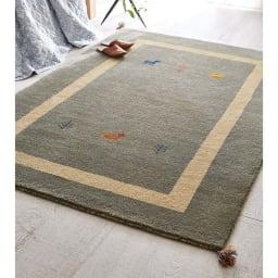 Gabbeh/ギャベ インド製 ウールラグ グレー ※写真は約140×200cmです。