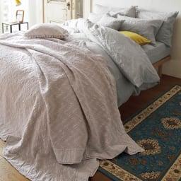 French Linen/フレンチリネン カバーリング 掛けカバー メランジ コーディネート例(ア)グレー