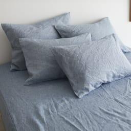 French Linen/フレンチリネン カバーリング ベッドシーツ メランジ (イ)ライトインディゴ ※お届けはベッドシーツです。