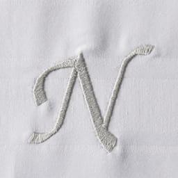 Sateen/サティーン 超長綿カバーリング イニシャル刺しゅう入りピローケース 1枚 【N】ライトグレー
