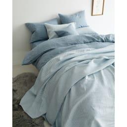 French Linen/フレンチリネン ヘリンボーン織カバーリング マルチカバー [コーディネート例](イ)ライトブルー
