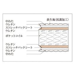 【配送料金込み 組立・設置サービス付き】シェルフスリム 引き出し付きベッド 6.5インチピロートップ マットレス断面図