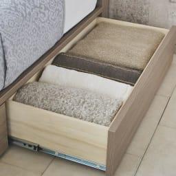 【配送料金込み 組立・設置サービス付き】シェルフスリム 引き出し付きベッド 6.5インチピロートップ 引き出しにはオフシーズンの寝具やカーペットなどを収納。
