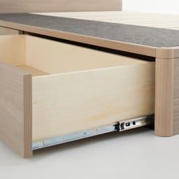 【配送料金込み 組立・設置サービス付き】シェルフスリム 引き出し付きベッド 6.5インチピロートップ 引き出しはスライドレールでスムーズに動かせます。