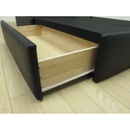 国産ユーロトップポケットコイルマットレス LeClass/ルクラス 引き出し付きベッド 引き出しはスライドレール付き。
