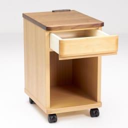 アルダー材ベッドサイドナイトテーブル 幅30cm 引き出し1杯タイプ