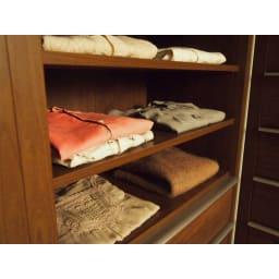 Antisala/アンティサラ クローゼットユニット収納・ウォルナット 幅80cm オープン棚&チェスト 衣類をたたんで見せる収納