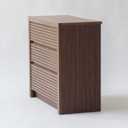 Maisema/マイセマ ウォルナット格子チェスト 幅80cm・3段(高さ72.4cm) サイドにはウォルナットの柄をリアルに再現した化粧合板を使用しています。
