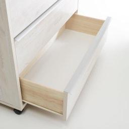 Mieli/ミエリ キャスター付きチェスト 幅90cm・3段(高さ75.5cm) 引き出しは滑らかに開閉するレール付きです。