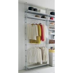 Struty(ストラティ) ラックシリーズ ハンガー2本&棚3段・幅100cm お部屋の壁面を使っておしゃれなクローゼットが作れる人気のシリーズです。(※お届けはハンガー2本&棚3・幅100cmタイプです。)