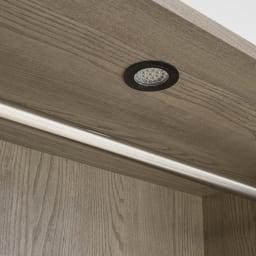 Vises/ヴィセス オープンワードローブ 幅60cm ハンガー2段 LED照明消灯時
