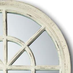 Window Style/ウィンドウスタイル ホワイト 壁掛けミラー・ウォールミラー(ホワイト/ゴールド) 1点ずつ丁寧にアンティーク加工が施されています。