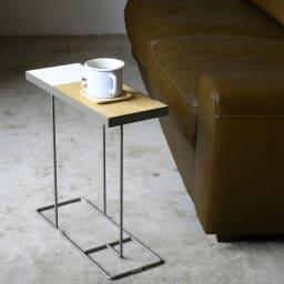 コンパニオン サイドテーブル (ウ)シルバーフレーム×ホワイト