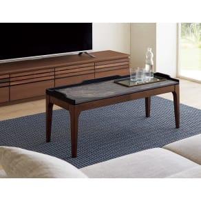 リビングテーブル 幅105cm奥行36.5cm高さ35cm(Elusso/エルーソ 石目調天板シリーズ) 写真
