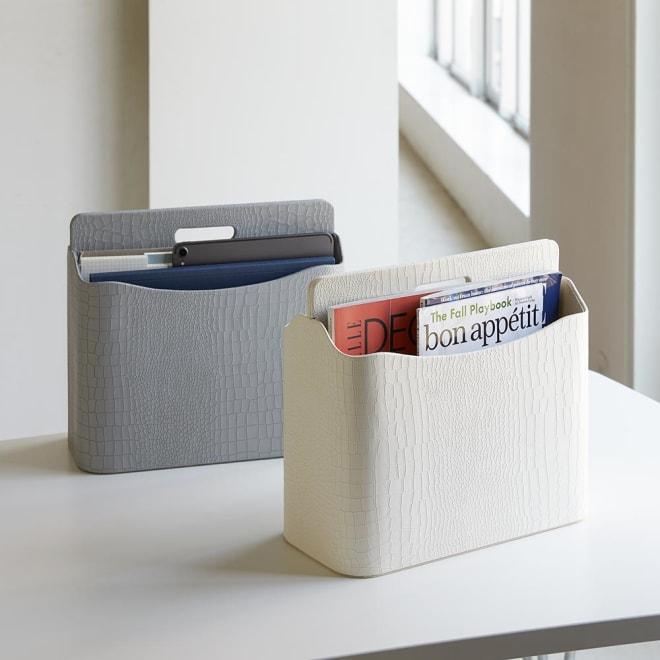 クロコ調リビング収納シリーズ マガジンラック(A4対応) リビングルームをクラスアップするクロコ調デザインでお部屋をすっきり見せます。