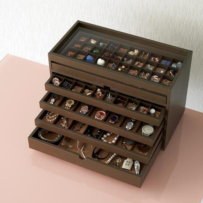 ディスプレイジュエリーボックス 幅40 cm 飾って隠して収納できる、アクセサリーのコレクションBOX
