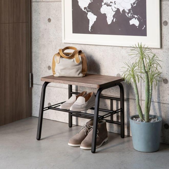 ラバーウッド玄関ベンチ 幅45 スチールフレームに天然木の座面が映えるシックなデザイン