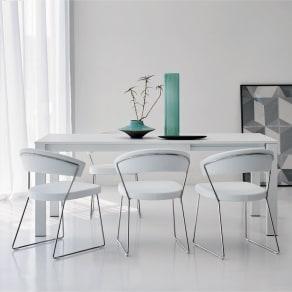 5点セット イタリア製伸長式ダイニングテーブル+NewYorkチェア4脚 テーブル幅130cm(伸長時190cm) 写真