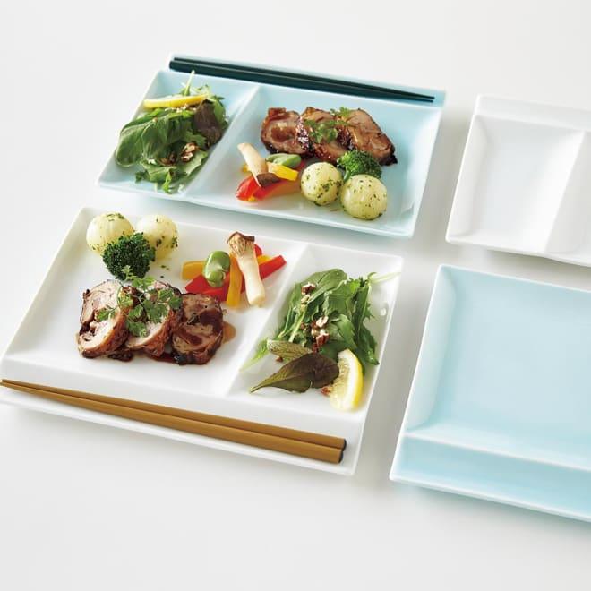 お箸が置けるパレット皿 幅24cm 2枚組