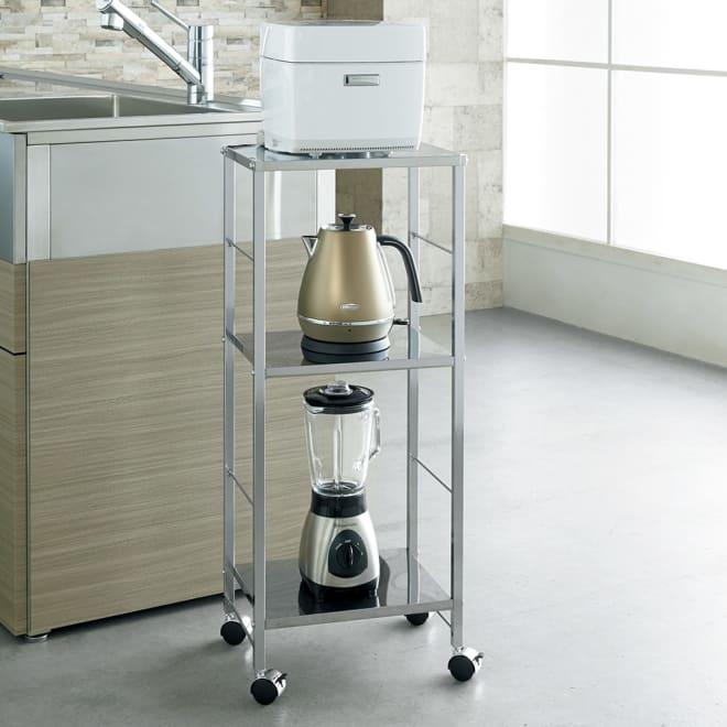 キャスター付ステンレス棚キッチン作業台 幅36.5cm