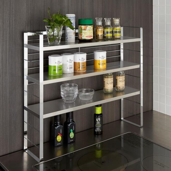 ステンレス棚スパイスラック ポット無し ボックスや調味料ポットの無い使いやすくシンプルなタイプです。