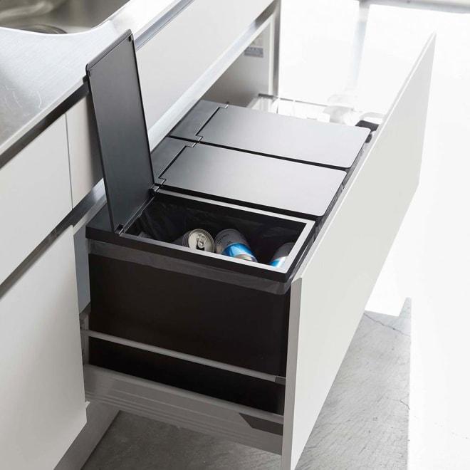 シンク下収納蓋付ゴミ箱 同色3個組 (イ)ブラック3個組
