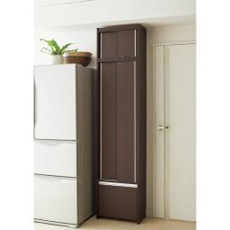 Rerve/レルヴェ 壁面収納引き戸キッチンパントリー 奥行45cm幅50cm高さ180cm 幅を10cmごとに選べるコンパクトさで作り付けのようにすっきり設置できます。