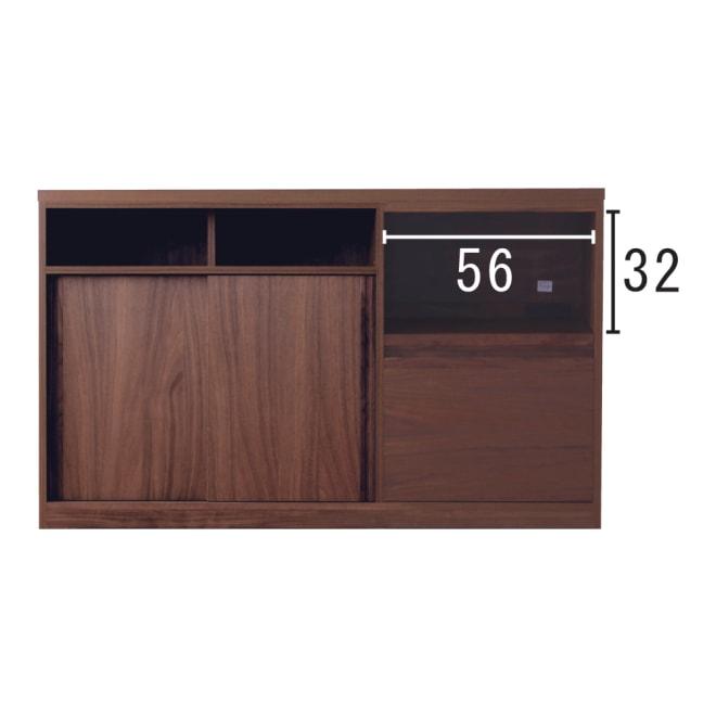 VineII/ヴィネ2 アイランドカウンターウォルナットタイプ 大理石調天板 幅150cm スライドテーブル奥行=30内寸(cm)