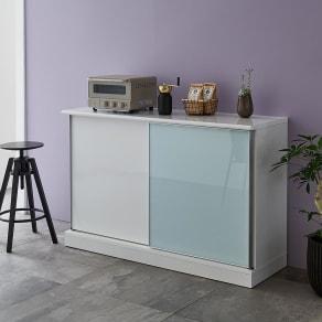 Orga/オルガ 引き戸キッチン収納 カウンター 幅140cm 写真