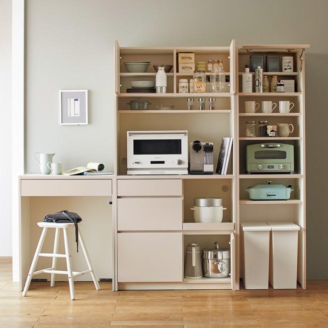 Enkel/エンケル キッチンシリーズ 幅72cm オープンカウンター [コーディネート例]左:幅72オープンカウンター 中央:幅90キッチンボード 右:幅50ユーティリティラック ※お届けはオープンカウンターのみになります