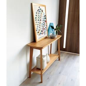 オーク天然木 リビングテーブル 棚付きコンソールテーブル [WOODMAN・ウッドマン] 写真