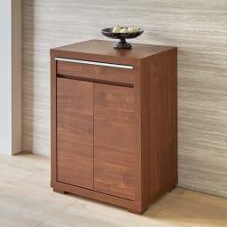 Antisala/アンティサラ パソコンデスク キャビネット 幅60.5 天板から前面、側面まで、なめらかで美しい木肌と、深い色が魅力のウォールナット材を贅沢に使用。