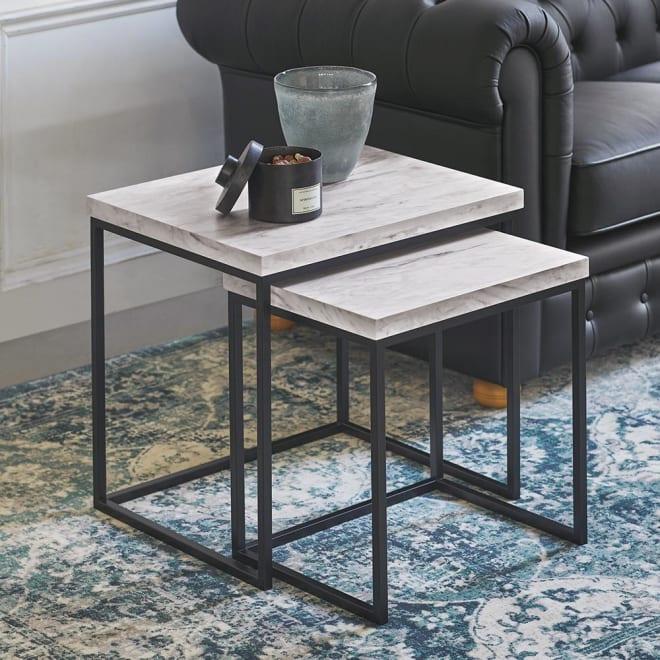 Marbrim/マーブリム 大理石調テーブルシリーズ ネストサイドテーブル ソファサイドやベッドサイドにちょうど良いサイズ。
