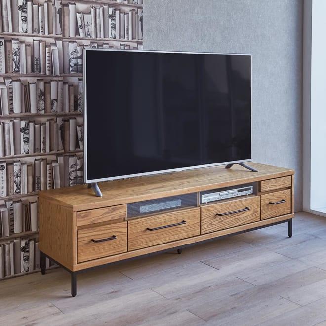 HS Brookryn/エイチエスブルックリン リビングシリーズ テレビボード 幅160cm・高さ45cm 天然木製の本体にアイアンフレームの質感が際立つシックなブルックリン風デザイン。