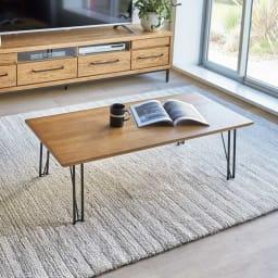 HS Brookryn/エイチエスブルックリン リビングシリーズ センターテーブル 天然木製の本体にアイアンフレームの質感が際立つシックなブルックリン風デザイン。