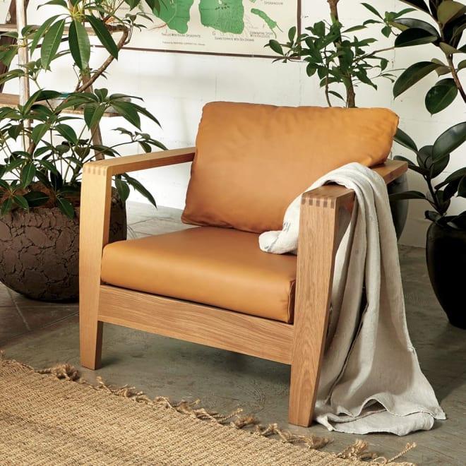 Green/グリーン オーク天然木 木フレームレザーソファ シングル・1人掛けソファ 幅75cm 人気のオーク天然木無垢材を贅沢に使用したラグジュアリーなパーソナルソファ