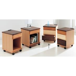 アルダー材ベッドサイドナイトテーブル 幅40cm 引き出し3杯タイプ 写真