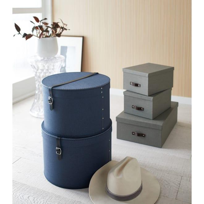 帽子収納ボックス 2個セット[BIGSOBOX/ビグソーボックス]スウェーデン生まれの収納ボックス (ウ)ネイビー