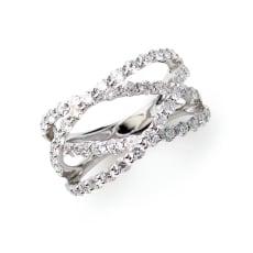 K18WG 2.1ctダイヤ デザインリング