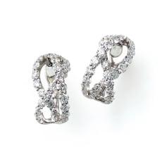 K18WG 2.3ctダイヤ デザインピアス