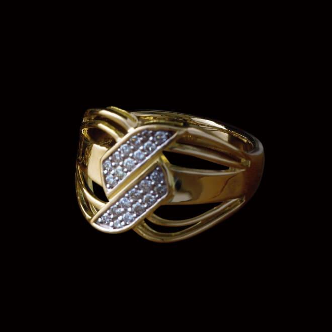 K18 0.3ctダイヤ デザインリング