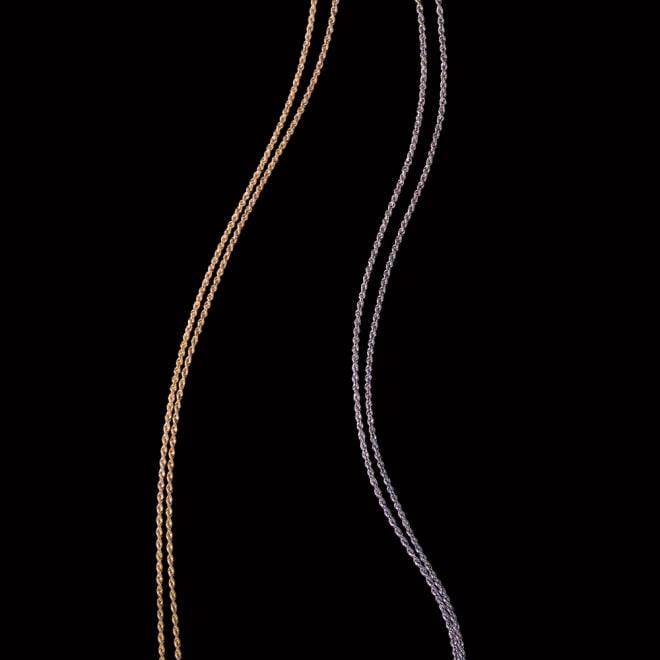 K18 ロープ ロングネックレス 左から (ア)YG (イ)WG