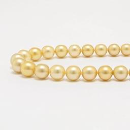 9~12mm ミャンマーゴールド 花珠パール ネックレス