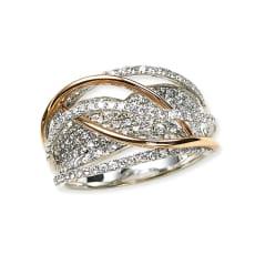 K18WG 1.5ctダイヤ デザイン リング