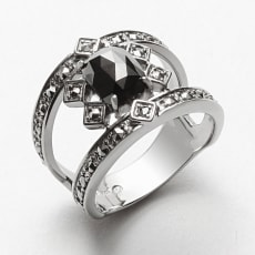 ROKUZAN/碌山 SV 1.2ctブラックダイヤ デザイン リング